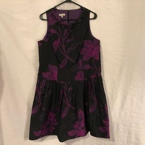 Madison 14 Dress Purple Black Floral A Line 1040